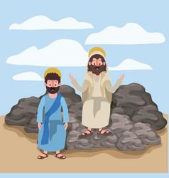 Jesus the nazarene and philip in scene in desert vector