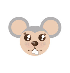 Kawaii face mouse animal fun vector
