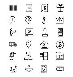 Money line icons 3 vector