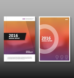 Orange purple annual report leaflet brochure set vector
