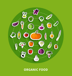 Organic food decorative paper icons vector