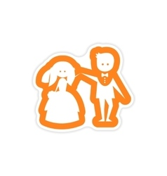 Paper sticker on white background bride groom vector