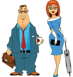 Pilot and stewardess vector image vector image