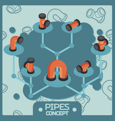Pipes color isometric concept icons vector