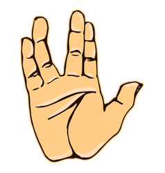 Realistic salute vulcan hand gesture icon graphic vector