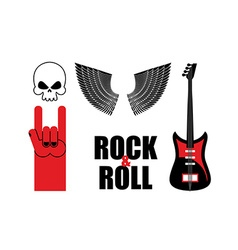 Set symbol rock music Skull and wings guitar and vector image
