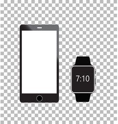 Smartphone and smartwatch on white background vector