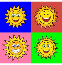 Suns with smile vector