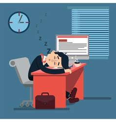 Tired sleeping businessman at work vector