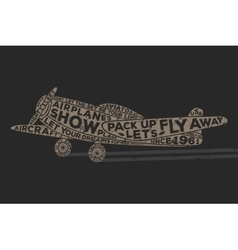 Vintage style plane with calligraphy Vintage tee vector image vector image