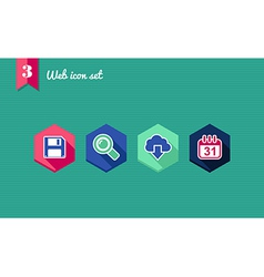 Web apps geometric flat icons set vector image