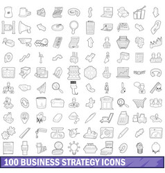 100 business strategy icons set outline style vector image