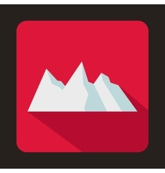 Snowy mountains icon flat style vector