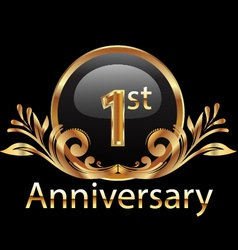 1st anniversary birthday in gold vector image