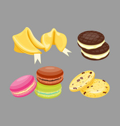 Different cookie homemade breakfast bake cakes vector