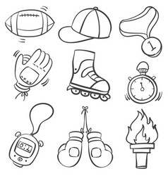 Doodle of sport object various vector