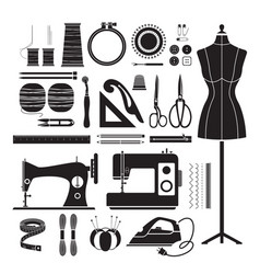 Sewing kit icons set monochrome vector