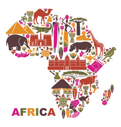 Traditional symbols of africa in the form of a map vector