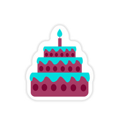 Stylish paper sticker on white background cake vector