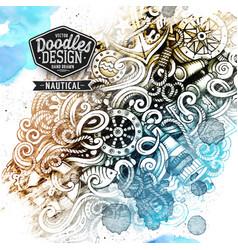 watercolor graphics doodles nautical artistic vector image