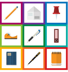 Flat icon equipment set of drawing tool pencil vector