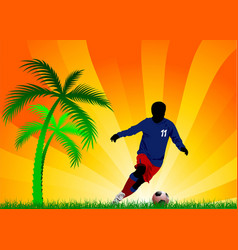 Soccer players and palm tree vector