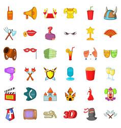 cinema icons set cartoon style vector image