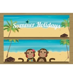 2 Summer Holidays Banner with cute couple Monkeys vector image vector image