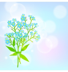 Card with forget me not flower vector