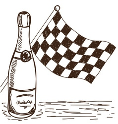 Checkered flag and champagne drawing vector