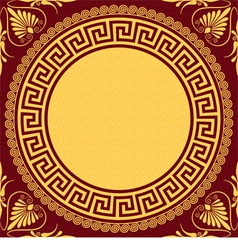 Golden round greek ornament vector