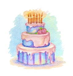 Hand-drawn birthday cake vector