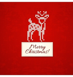 Christmas knitting background with christmas deer vector