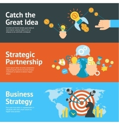Business strategy analysis concept banners set vector
