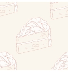 Outline seamless pattern with hand drawn cake vector