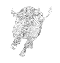 Patterned bull zentangle style vector