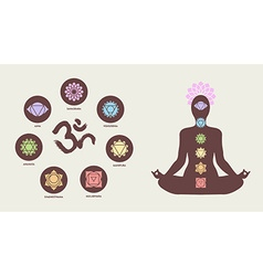 Chakra icons with human silhouette doing yoga pose vector