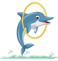 Cute dolphin cartoon jumping vector