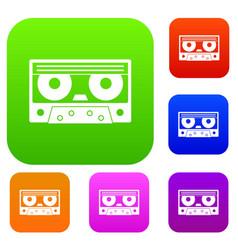 Audio cassette tape set color collection vector