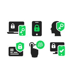 Authentication icons set 02 vector