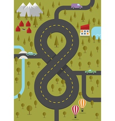 Background with road in the form of eight vector image vector image