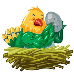 Bird hatching egg in the nest vector