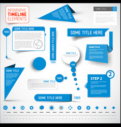 Blue infographic timeline elements template vector