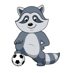 Cartoon raccoon player with soccer ball vector