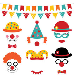 Circus and clown photo booth props vector image