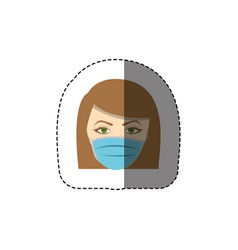 Color sticker with head of nurse with mouth cap vector