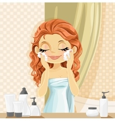 Cute brunette girl washes facial wash in the vector image
