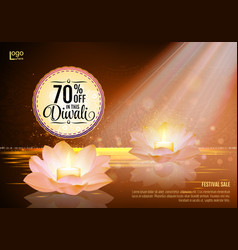 diwali festival offer poster design template with vector image vector image