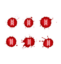 Dna blood icons set vector