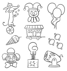 Doodle animal balloon for circus vector